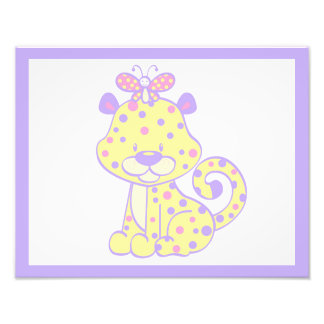 Girl Nursery Wall Art Print Cheetah Pink Purple