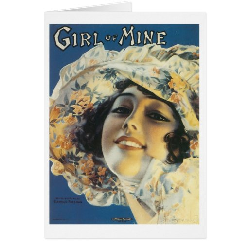 Girl of Mine Vintage Songbook Cover Greeting Cards