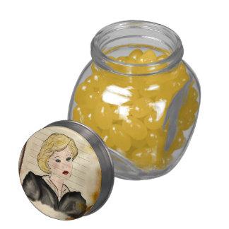 girl of nostalgic glance jelly belly candy jars
