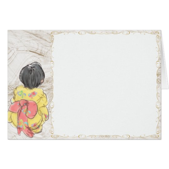 Girl of the Japanese bathrobe Card
