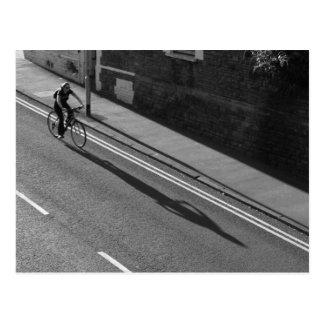 Girl on a Bicycle BW Postcard