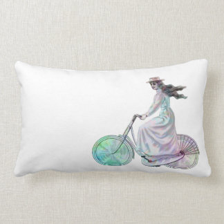 Girl on a Bicycle Lumbar Pillow