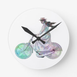 Girl on a Bicycle Round Clock