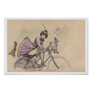 Girl on a Bicycle Skirt Blowing in Wind Poster