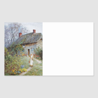 Girl on a Cottage Path Rectangular Sticker
