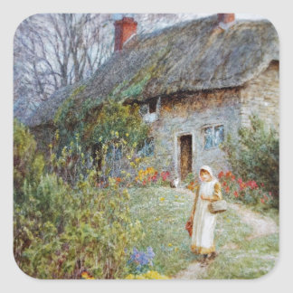 Girl on a Cottage Path Square Sticker