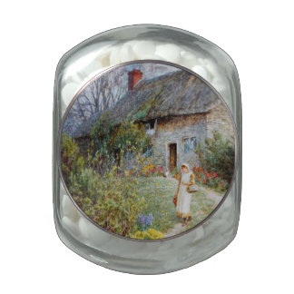Girl on a Cottage Pathway Glass Candy Jar