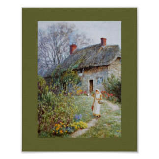 Girl on a Cottage Pathway Poster
