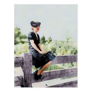 Girl on a Fence 1940 Postcard
