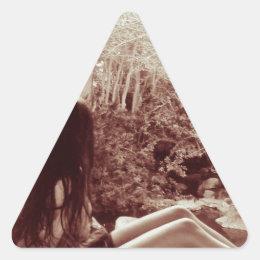 Girl on a ledge triangle sticker
