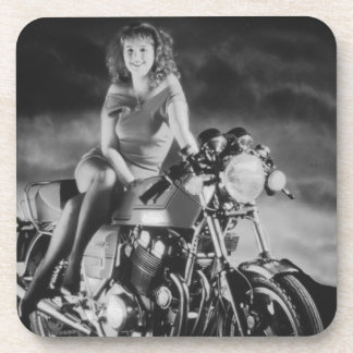 Girl On A Motorcycle Beverage Coaster
