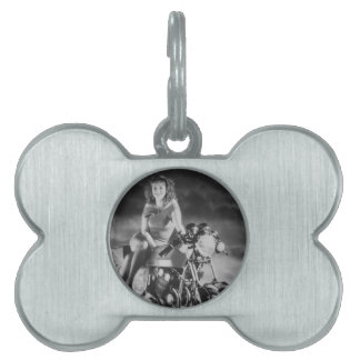 Girl On A Motorcycle Pet ID Tags