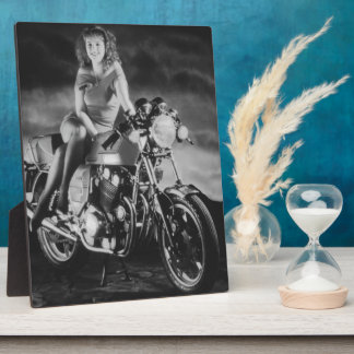 Girl On A Motorcycle Display Plaques