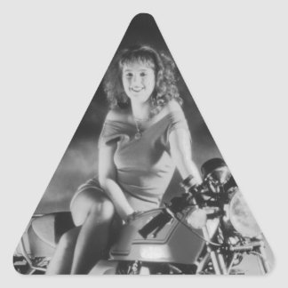 Girl On A Motorcycle Triangle Sticker