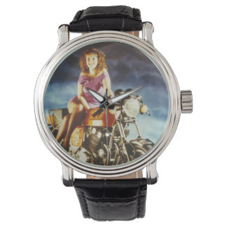Girl On A Motorcycle Wristwatch