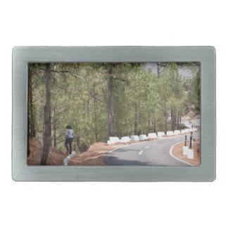 Girl on a mountain highway road rectangular belt buckle