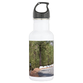 Girl on a mountain highway road 18oz water bottle