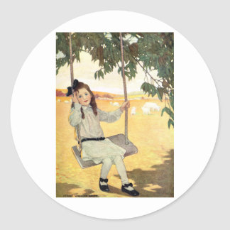 Girl on a Swing Classic Round Sticker
