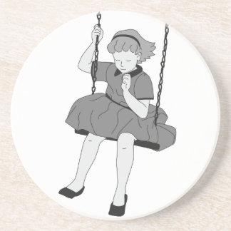 Girl on a Swing Sandstone Coaster