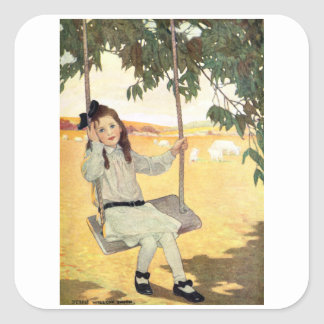 Girl on a Swing Square Sticker