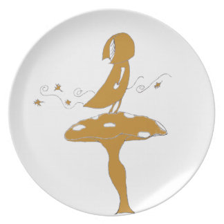Girl on a toadstool dinner plate