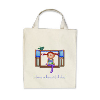 Girl On a Window Sill Pixel Art Tote Bags