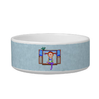 Girl On a Window Sill Pixel Art Bowl