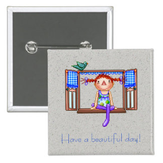 Girl On a Window Sill Pixel Art 2 Inch Square Button