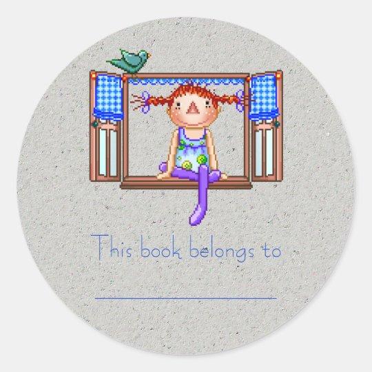 Girl On a Window Sill Pixel Art Classic Round Sticker