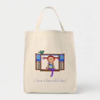 Girl On a Window Sill Pixel Art Grocery Tote Bag