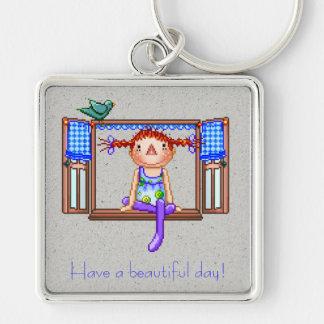 Girl On a Window Sill Pixel Art Keychain