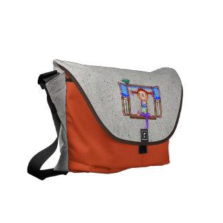 Girl On a Window Sill Pixel Art Messenger Bag