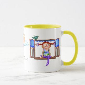 Girl On a Window Sill Pixel Art Mug