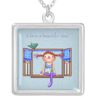 Girl On a Window Sill Pixel Art Square Pendant Necklace