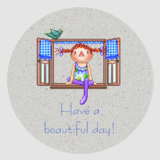 Girl On a Window Sill Pixel Art Classic Round Sticker
