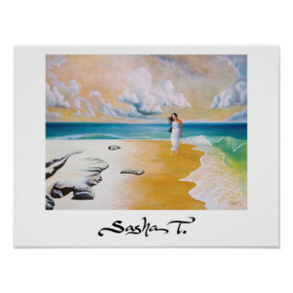 Girl on beach art print