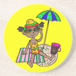 Girl On Beach Drink Coaster