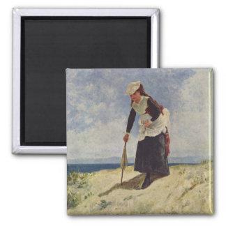 Girl on beach - Giuseppe de Nittis Magnet