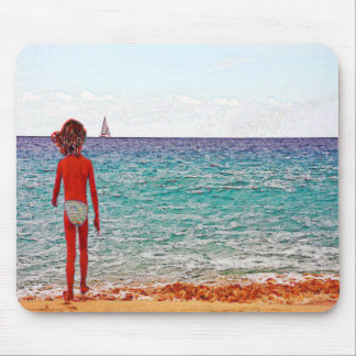 Girl on beach holiday mouse pad