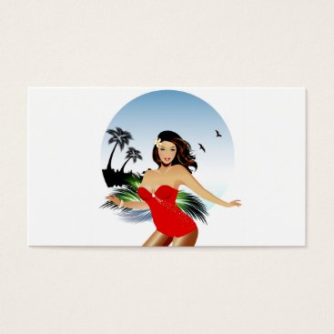 Beach Themed Girl on beach in red bathing suit business card