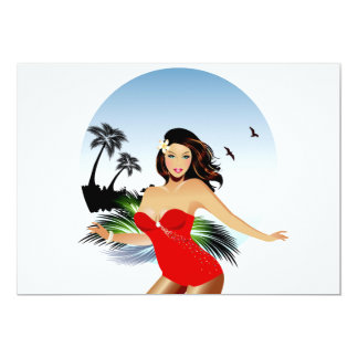 Girl on beach in red bathing suit card