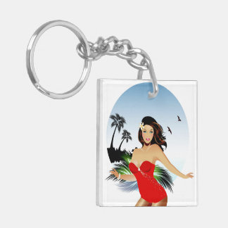 Girl on beach in red bathing suit keychain
