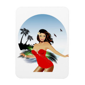 Girl on beach in red bathing suit magnet
