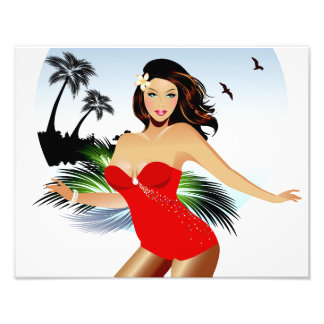 Girl on beach in red bathing suit photo print