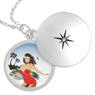 Girl on beach in red bathing suit round locket necklace