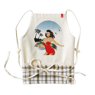 Girl on beach in red bathing suit zazzle HEART apron