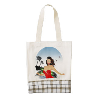 Girl on beach in red bathing suit zazzle HEART tote bag