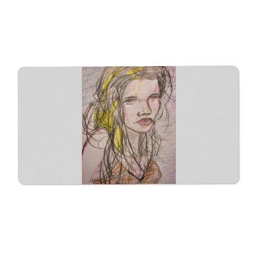 Beach Themed Girl on Beach Label