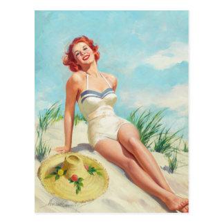 Girl on Beach Pin Up Art Postcard