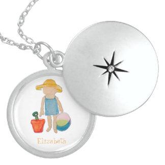Girl on Beach - Sunhat Ball & Bucket to Customize Round Locket Necklace